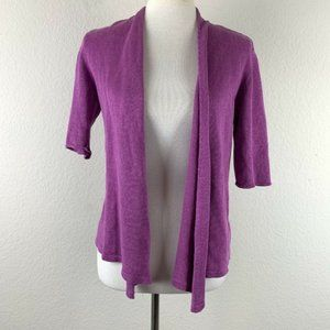 Eileen Fisher Linen Open Front Cardigan Sweater XS